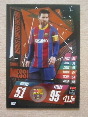 Match Attax CL 2020/21 Bronze Ltd Edition Card Lionel Messi Of Barcelona • 2£