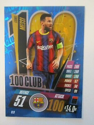 Match Attax CL 2020/21 100 Club Card Lionel Messi Of Barcelona • 1.50£