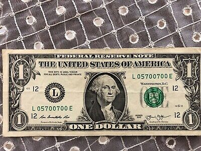 $17.89 • Buy FIVE OF A KIND  0  - $1 Dollar Bill - TRINARY - SERIAL NUMBER's - BUY ONE Or ALL