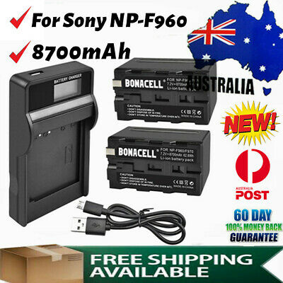 AU41.99 • Buy 2× 8700mAh Li-ion Replacement Battery + LCD Charger For Sony NP-F970 NP-F960 AU