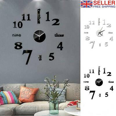 Large DIY 3D Frameless Number Wall Clock Mirror Sticker Home Office Room   Decor • 5.88£