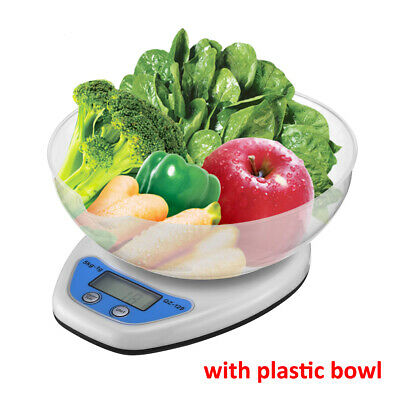 5KG Digital Kitchen Scales LCD Electronic Cooking Food Measuring Scale With Bowl • 4£