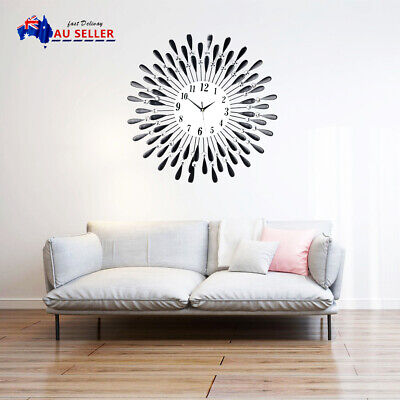 AU36.99 • Buy W/battery Large Modern 3D Crystal Wall Clock Luxury Round Dial Black Drops Home