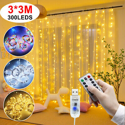 300 LED Curtain Fairy String Lights In/Outdoor Backdrop Wedding Xmas Party Decor • 7.19£