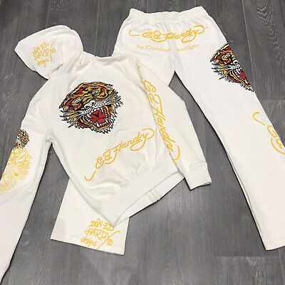 RARE Ed Hardy Tracksuit Set Hoodie And Joggers White Y2K 90s Vintage S Fit UK6/8 • 102£