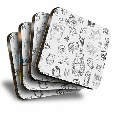 £8.99 • Buy Set Of 4 Square Coasters - BW - Owl Drawings Bird Sketch Owls  #35170