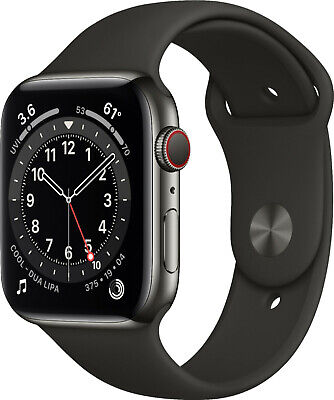 $ CDN898.18 • Buy Apple Watch Series 6 44mm Graphite Stainless Steel Black Sport Cellular M07Q3LL