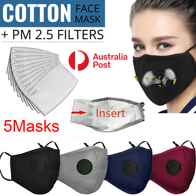 AU18.99 • Buy 5 X Washable Face Mask Reusable Respirator With Valve Cotton Mouth PM 2.5 Filter
