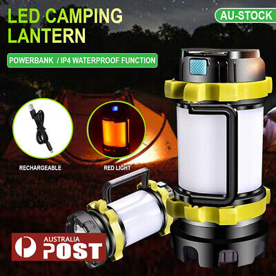AU31.89 • Buy Rechargeable LED Camping Lantern Outdoor Tent Light Lamp & Power For Phone 1x