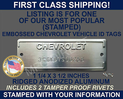 AU53.71 • Buy Chevrolet Serial Number Id Tag Data Vin Plate Chevy  Stamped  With Your Info Usa