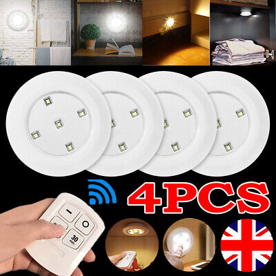 4PCS LED Kitchen Cabinet Under Cupboard Night Light Lamp Dimmable Remote Control • 10.79£