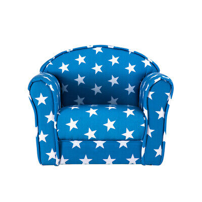Upholstered Blue Star Fabric Sofa Floor Toddler Chair Seat Armchair Kid Children • 34.99£