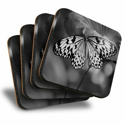 £8.99 • Buy Set Of 4 Square Coasters - BW - Butterfly Flowers  #41568