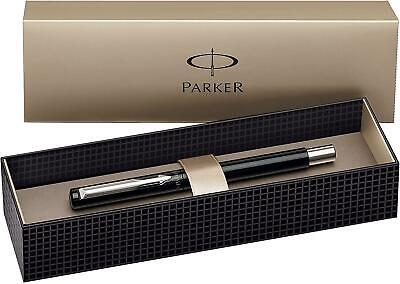 Parker Vector Fountain Pen, Fine Nib, Gift Box - Black With Stainless Steel Trim • 11.09£