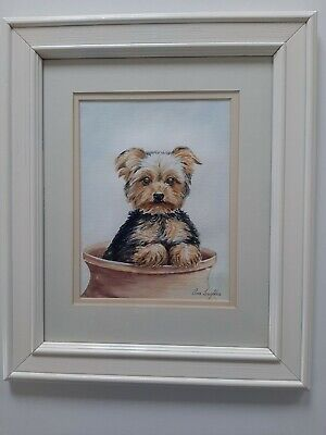 Yorkshire Terrier Puppy - Framed Original Watercolour Painting By Ann-l's Art • 35£