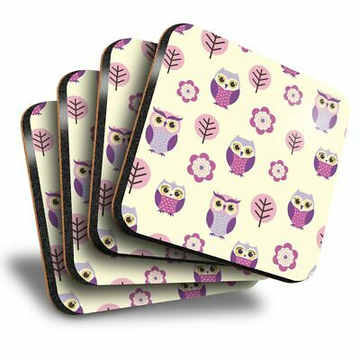 £8.99 • Buy Set Of 4 Square Coasters - Purple Pink Owl Pattern Forest  #46227