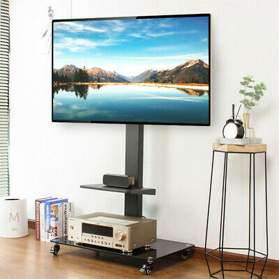 £53.99 • Buy Mobile Tall TV Stand On Wheels Casters Home Display Trolley For Most 32-70 Inch