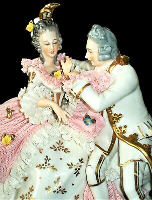 $ CDN87.71 • Buy Antique German Dresden Lace Lady Man Courting Couple In Love Porcelain Figurine