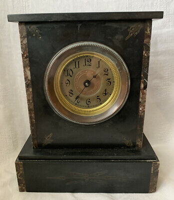 Antique French Black Slate & Marble Mantel Clock • 50£