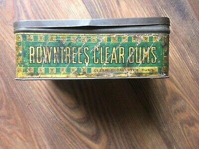 Antique Vintage Rowntrees Clear Gums Advertising Sweets Tin. • 10£