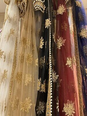 £20 • Buy Fancy Net Dupatta Scarf With Gota Patti Lace & Pearl In 12 Best Selling Colours