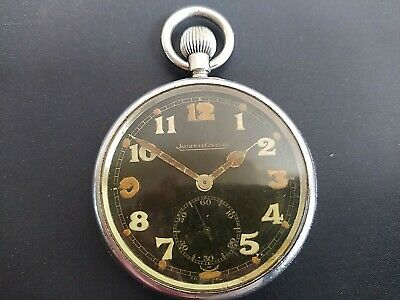 Jaeger-LeCoultre WW2 Military Black Dial Pocket Watch Good Working Order • 56£