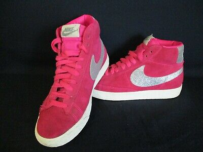 NIKE Blazer High Top Trainers, Pink Suede, Silver Glitter, 5, Euro 38.5, 615898 • 20£