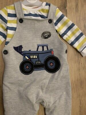 Baby Boy Blue Zoo Grey Tractor Dungaree & Stripe Body Suit Set Age 3-6m Bnwt • 7.90£
