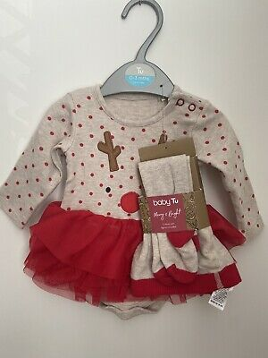 Baby Girls First Christmas Outfit Tutu Tights Dress Tu 0-3 Months  • 5£