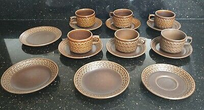 Wedgewood Pennine Cups And Saucers And Side Plates 1960's Brown Tea Set Vintage • 25£