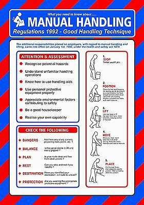 £5.49 • Buy Health And Safety MANUAL HANDLING A4 210 X 297mm 400g Card Laminated POSTER