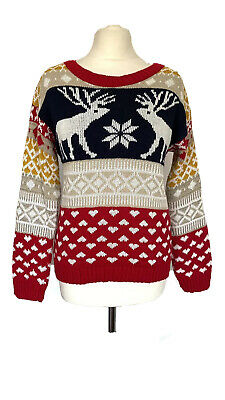 £5.59 • Buy Nordic Style Christmas Jumper By Jealous With Reindeer And Hearts One Size