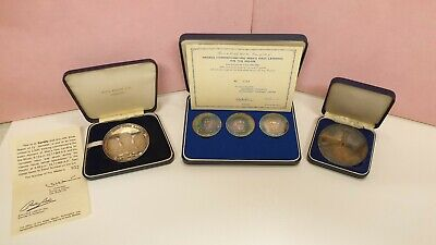 First Moon Landing Apollo 11 Silver Coin Medallion Collection + 35mm Sides • 450£