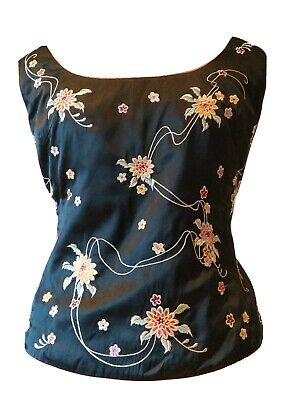 Vintage Caroline Charles Silk Event Party Unique  Embroidered Silk Top UK14 • 4.30£