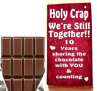 10th Anniversary Gift Husband & Wife Present For Her Him Mr Mrs Milk Chocolate • 4.99£