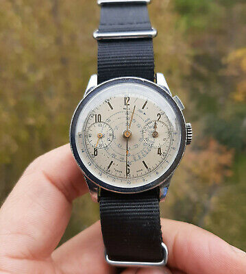 $ CDN1653.21 • Buy Vintage Tell Single Button Chronograph Valjoux 22 Serviced 36mm 1940's WWII Era