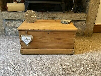 Antique PINE Blanket CHEST, Old TRUNK, Coffee Table Vintage WOODEN Storage Box • 38£