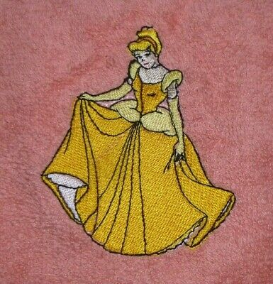 Cinderella In Yellow Dress, Embroidered Salmon Pink Face Cloth / Flannel • 4.55£