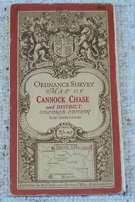 Ordnance Survey Third Edition 1-inch Map Sheet 62, Cannock Chase, On Cloth, 1914 • 9.95£
