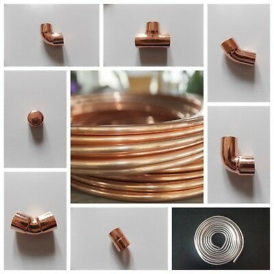 6mm/8mm/10mm Copper End Feed Fittings/plumbing Fittings/ Yorkshire Copper Pipe  • 3.99£