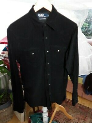 Polo By Ralph Lauren Black Needle Cord Western Shirt S  ( WORN ONCE ) • 5£