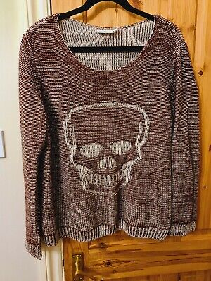 New Look Size 12 14 Skull Jumper Warm Knit Burgundy Emo Rock Chick Slouchy Punk • 1.91£