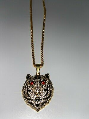 £14.99 • Buy Tiger Pendant & Chain Necklace Iced Out Bling Shiny Jewellery Diamond
