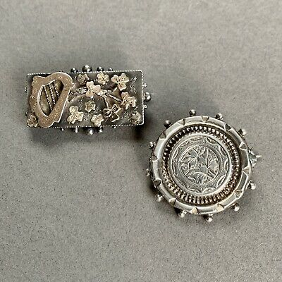 Antique Victorian Sterling Silver Brooch X 2 9ct Gold Overlay • 10.50£