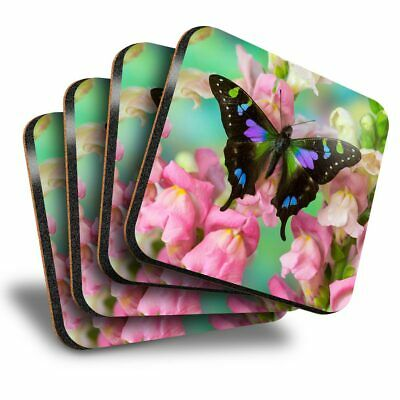 Set Of 4 Square Coasters - Butterfly Flowers  #2079 • 8.99£