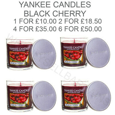 Yankee Candle Black Cherry Medium Pillar Scented Candle Red 198g Home Decor • 10£