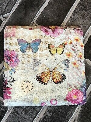 Handmade Decoupaged Slate Butterflies Floral Drinks Coasters Gift Shabby Chic • 3£