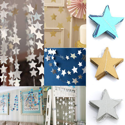 4M Star Paper Garland Hanging Banner Bunting FOR Wedding Party Home Decoration • 2.21£