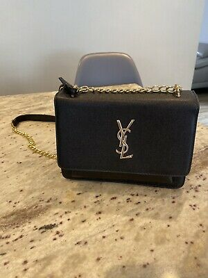 Ysl Style Clutch Bag With Chain Black Gold Gift Christmas Handbag • 35£