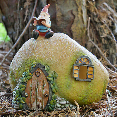 Vintage Resin Garden Lawn Patio Solar Powered Fairy Gnome House Statue Ornament • 17.99£